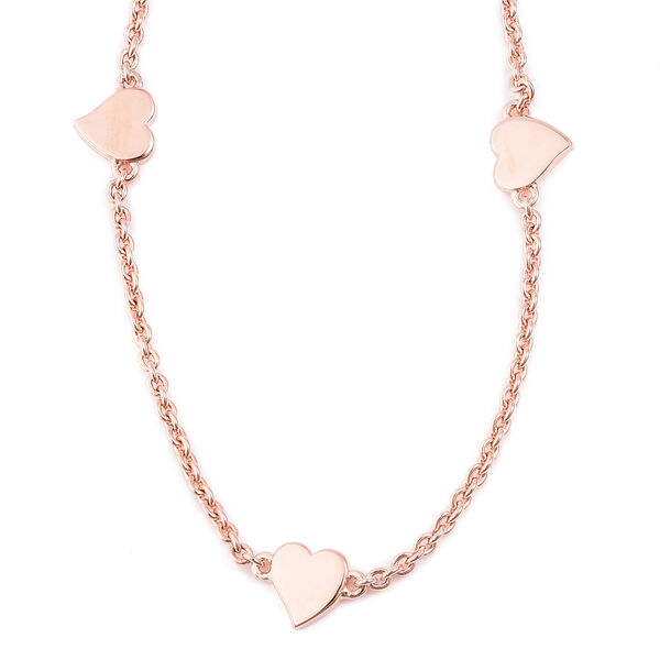 RACHEL GALLEY Heart Collection - Yellow Gold Overlay Sterling Silver Heart Station Necklace (Size 26), Silver wt 12.53 Gms