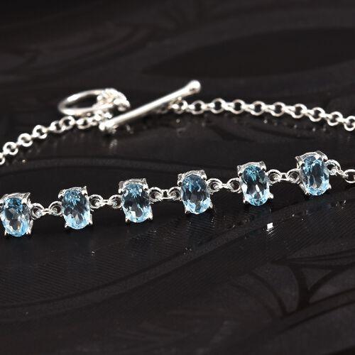 Sky Blue Topaz (Ovl 6x4 mm) Bracelet (Size 7.5) in Sterling Silver 3.000 Ct, Silver wt 4.09 Gms.