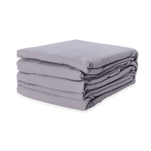 Double Size Sheet Set of 4 - Extremely Soft Stone Washed Grey Colour Fitted Sheet (190x140x30 Cm), Flat Sheet (230x255+5 Cm) and 2 Pillow Cases (75x50+5 Cm)