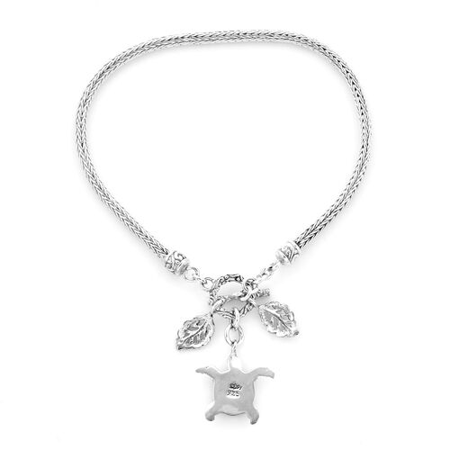 Royal Bali Collection - Sterling Silver Tulang Naga Bracelet (Size 8) with Leaves and Turtle Charm, Silver wt 10.55 Gms