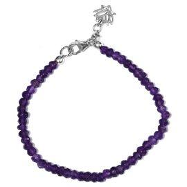 Amethyst (Rnd) Beads Bracelet (Size 7.5) in Platinum Overlay Sterling Silver 17.600 Ct.