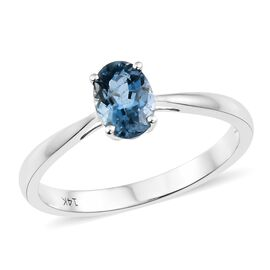 14K White Gold AA Santa Maria Aquamarine (Ovl 7x5 mm) Solitaire Ring 0.650 Ct.