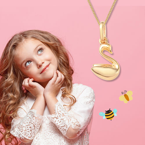 Swan Pendant for Child in Gold Plated Silver
