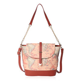 Close Out Deal- World Map Print Crossbody Bag with Ajustable Strap ( 25x24.5x13 cm)