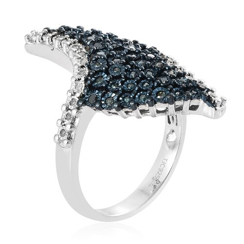 GP Blue Diamond (Rnd), Kanchanaburi Blue Sapphire Cluster Ring in Blue and Platinum Overlay Sterling Silver 0.520 Ct, Silver wt 7.72 Gms.