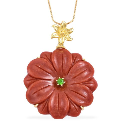 Limited Available-Floral Carved Red Jade and Russian Diopside Pendant With Chain in Yellow Gold Over