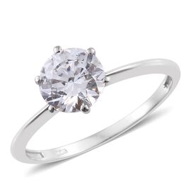J Francis - Platinum Overlay Sterling Silver (Rnd 8MM) Solitaire Ring Made with SWAROVSKI ZIRCONIA