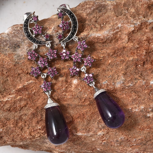 GP Amethyst (Drop), Multi Gem Stone Star and Moon Dangle Earrings (with Push Back) in Platinum Overlay Sterling Silver 29.500 Ct., Silver wt 9.11 Gms.