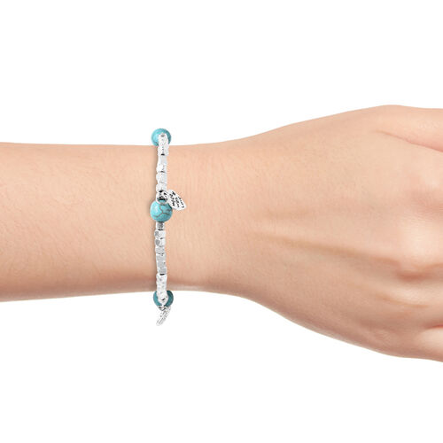 Blue Howlite (Rnd) Stretchable Beads Bracelet (Size 7) with Heart Charms in Antique Silver Plated 15.00 Ct.