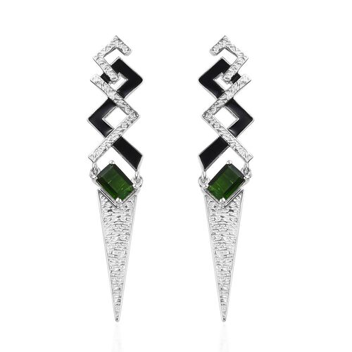 Russian Diopside Enamelled Earrings (with Push Back) in Platinum Overlay Sterling Silver 2.00 Ct, Si