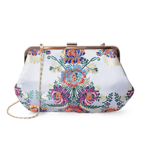 Light Grey and Multi Colour Flower Embroidered Clutch Bag with Chain Shoulder Strap (Size 29x17.5 Cm).