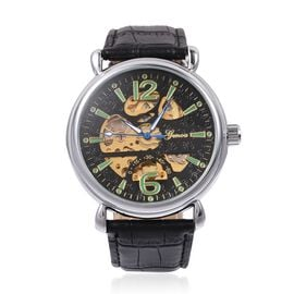 GENOA  Automatic Skeleton Water Resistant Watch with Black Leather Strap