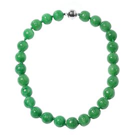 Green Jade (Rnd) Beaded Necklace (Size 18) in Rhodium Overlay Sterling Silver 853.80 Ct