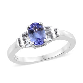Designer Inspired Tanzanite (Ovl),White Topaz Ring in Platinum Overlay Sterling Silver 1.00 Ct.