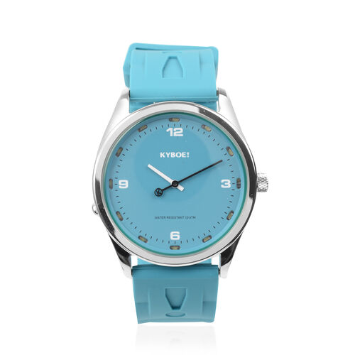 KYBOE Evolve Japanese Movement 100M Water Resistant Tile Blue LED Watch in Stainless Steel with Teal
