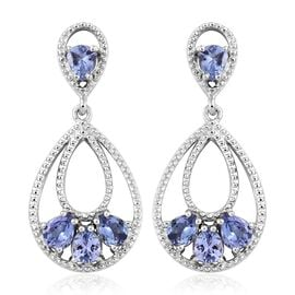 Tanzanite (Pear) Drop Earrings (with Push Back) in Platinum Overlay Sterling Silver 2.250 Ct, Silver wt 5.83 Gms.