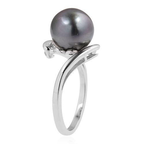 Tahitian Pearl (Rnd) Ring in Rhodium Overlay Sterling Silver