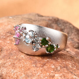 RACHEL GALLEY Sandblast Collection  - Madagascar Pink Sapphire, Russian Diopside and Cambodian Blue Zircon Ring in Rhodium Overlay Sterling Silver 1.63 Ct.