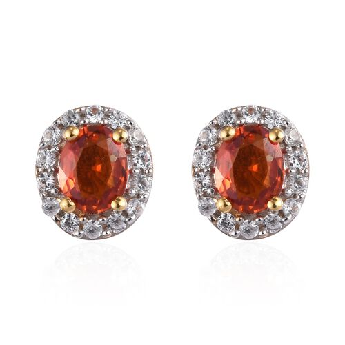 Red Sapphire and Natural Cambodian Zircon Halo Stud Earrings (with Push Back) in 14K Gold Overlay St