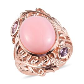 Peruvian Pink Opal (Ovl 16x12mm), Pink Sapphire Ring in Rose Gold Overlay Sterling Silver 7.50 Ct, S