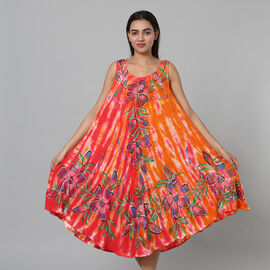 Tie & Dye Red and Orange Umbrella Dress in Floral Pattern (Size upto 20)