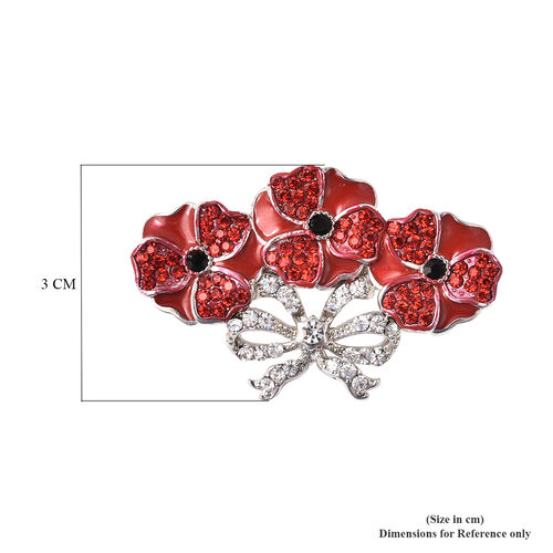 TJC Poppy Design - Red, Black and White Austrian Crystal Enamelled Poppy Brooch in Silver Tone