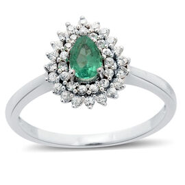 Boyaca Colombian Emerald (0.50 Ct),Sri Lankan White Sapphire 9K W Gold Ring  0.800  Ct.