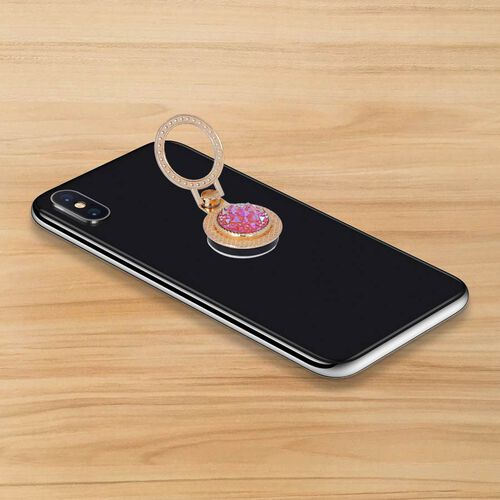 Gold and Pink Shungite Plate Phone Holder (Size 4x3x1 Cm)