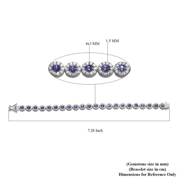 AAA Tanzanite and Natural Cambodian Zircon Tennis Bracelet (Size 7.5) in Platinum Overlay Sterling Silver 9.00 Ct, Silver wt. 13.92 Gms