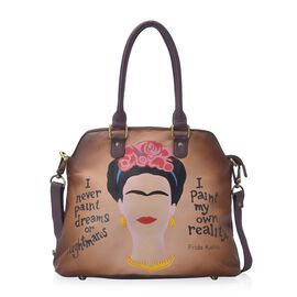 Sukriti Contemporary Art Collection - 100% Genuine Leather Frida Kahlo Hand Painted Shoulder Bag wit