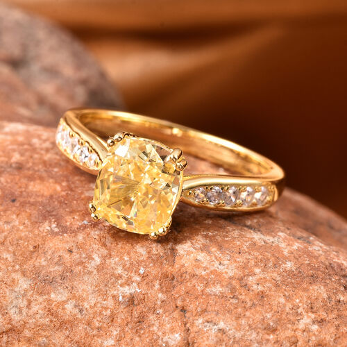 Lustro Stella - Simulated Yellow Diamond and Simulated White Diamond Ring in Yellow Gold Overlay Sterling Silver 4.32 Ct.