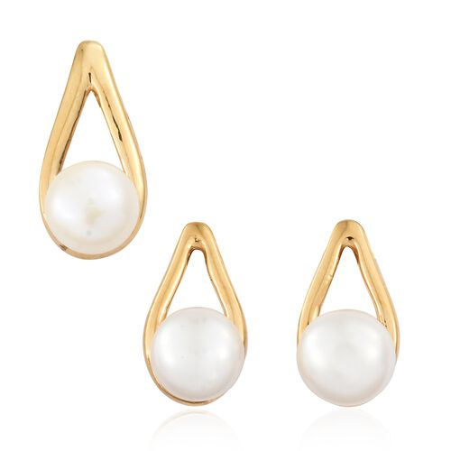 Fresh Water Pearl (8mm) Drop Pendant and Earrings in Gold Plated Silver (with Push Back)