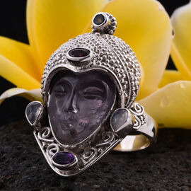 Sajen Silver GODDESS Collection- Amethyst and Multi Gemstone Devi Danu Handcarved Ring in Sterling Silver 10.35 Ct, Silver wt. 12.20 Gms