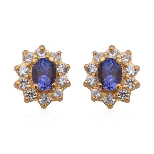 AAA Tanzanite and Natural Cambodian Zircon Stud Earrings (with Push Back) in Yellow Gold Overlay Ste
