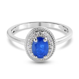 Tanzanian Blue Spinel and Natural Cambodian Zircon Ring in Platinum Overlay Sterling Silver 1.15 Ct.