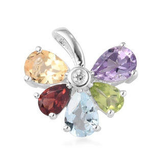 2.34 Ct Sky Blue Topaz and Hebei Peridot and Multi Gemstone Floral Pendant in Silver