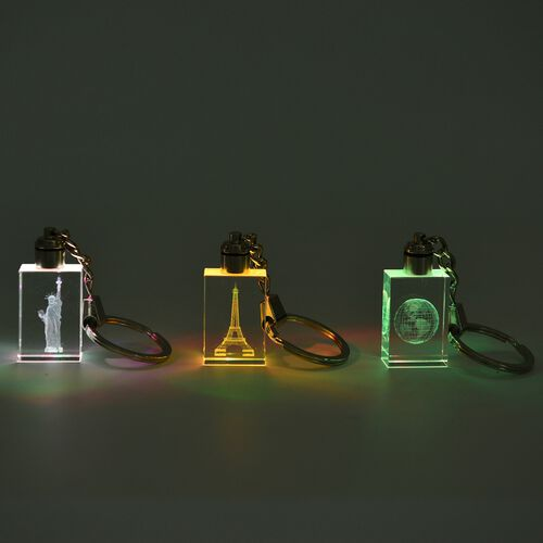 Set of 3 - 3D- Laser Printed Earth, Statue of Liberty and Eiffel Tower Multicolour LED with Changeable Lights Keychains in a Gift Box - Rectangle