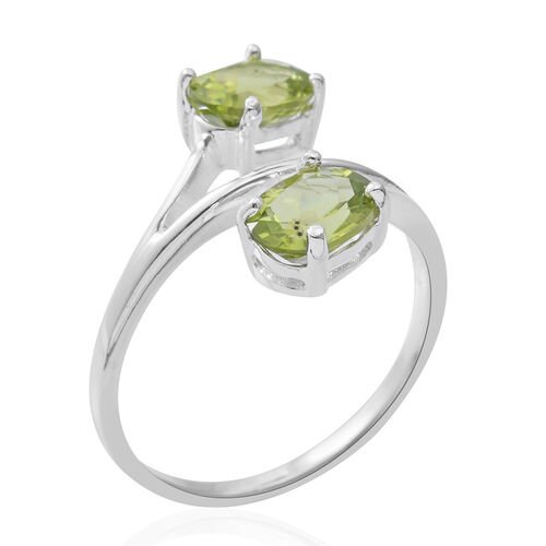 Hebei Peridot (Ovl) Crossover Ring in Rhodium Overlay Sterling Silver 2.700 Ct.