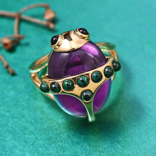 Sundays Child - Amethyst, Malachite and Boi Ploi Black Spinel Beetle Ring in 14K Gold Overlay Sterling Silver 13.20 Ct.