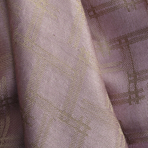 100% Silk Pink and Multi Colour Stripe Pattern Scarf (Size 180x70 Cm)