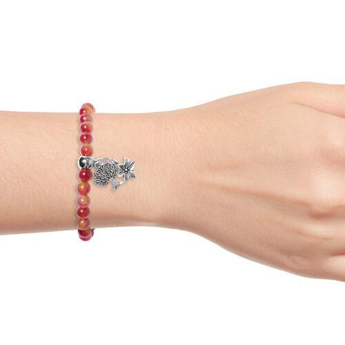 Cherry Quartzite (Rnd), Bracelet (Size 7.5 Strechable) with Multi Charm in Silver Tone