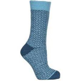 THERMSKI Ultra Thick Nordic Stripe Teddy Socks in Light and Dark Blue