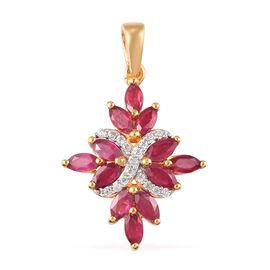 African Ruby and Natural Cambodian Zircon Floral Pendant in 14K Gold Overlay Sterling Silver 2.45 Ct