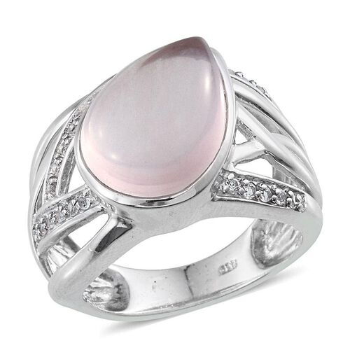 Rose Quartz (Pear 8.00 Ct), White Topaz Ring in Platinum Overlay Sterling Silver 8.500 Ct.
