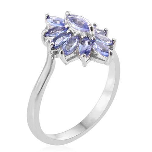 Tanzanite (Mrq) Cluster Ring and Pendant in Platinum Overlay Sterling Silver  2.000 Ct.