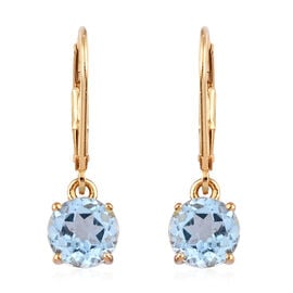 AA Sky Blue Topaz (3.00 Ct) Lever Back Earrings in 14K Gold Overlay Sterling Silver 3.000 Ct.