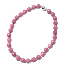 466.50 Ct Rhodonite Beaded Necklace in Rhodium Plated Silver with Magnetic Lock 20 Inch