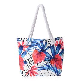 White and Multi Colour Floral Pattern Tote Bag (Size 35.5x42 Cm)
