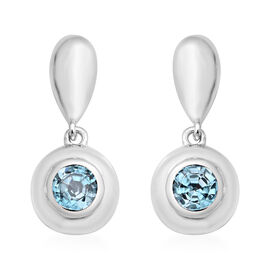 Ratanakiri Blue Zircon Earrings (with Push Back) in Rhodium Overlay Sterling Silver 2.06 Ct.