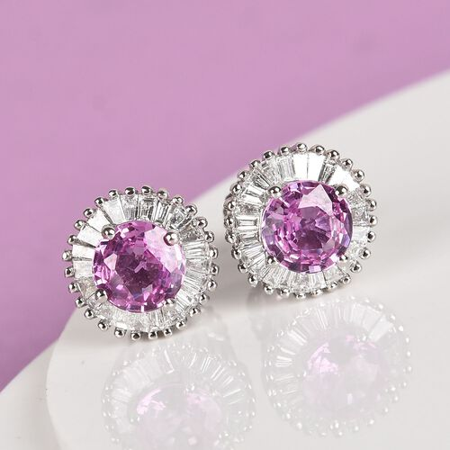 RHAPSODY 950 Platinum AAAA Madagascar Pink Sapphire and Diamond (VS/E-F) Stud Earrings (with Screw Back) 1.40 Ct.